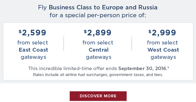 Fly                                                            Business Class                                                            to Europe                                                            & Russia                                                            for a special                                                            per-person                                                            price -                                                            Discove More                                                            Here!